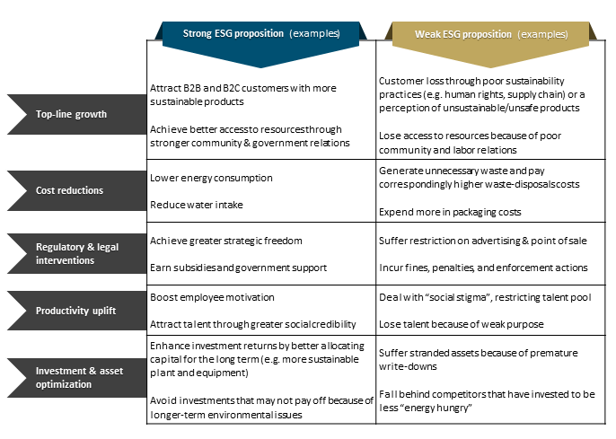 Figure 4: Link between value creation and ESG proposition in five ways [Source: ifb]