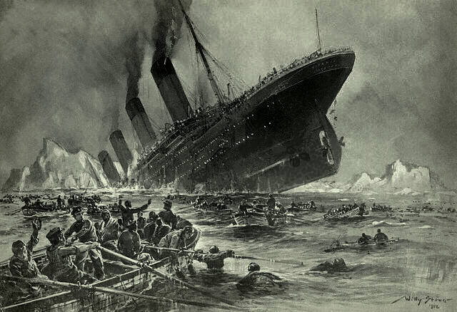 """Sinking of the Titanic"" (Illustration by Willy Stöwer for the magazine ""Die Gartenlaube"")"